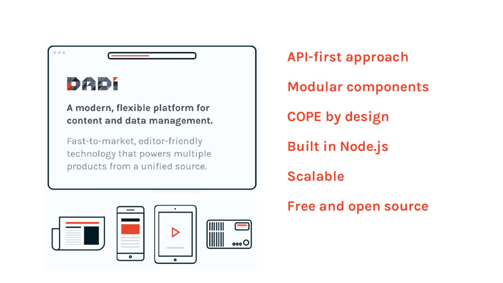 API-first approach Modular components COPE by d...