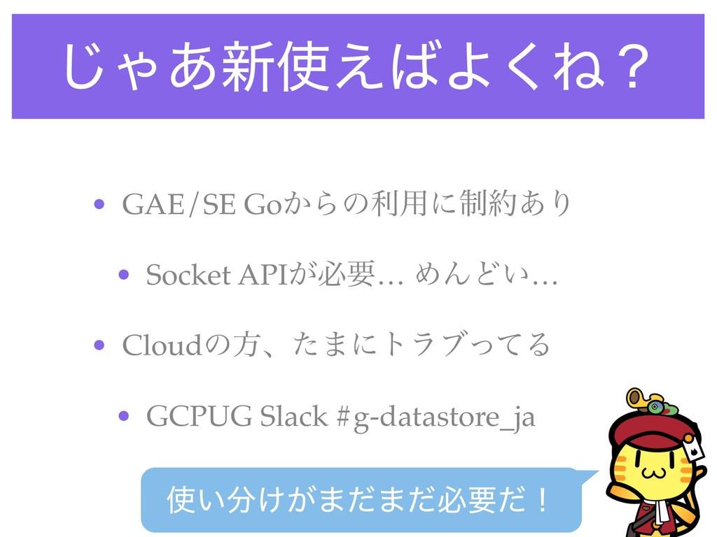 ͡Ό͋৽͑Α͘Ͷʁ • GAE/SE Go͔Βͷར༻ʹ੍͋Γ • Socket API͕...