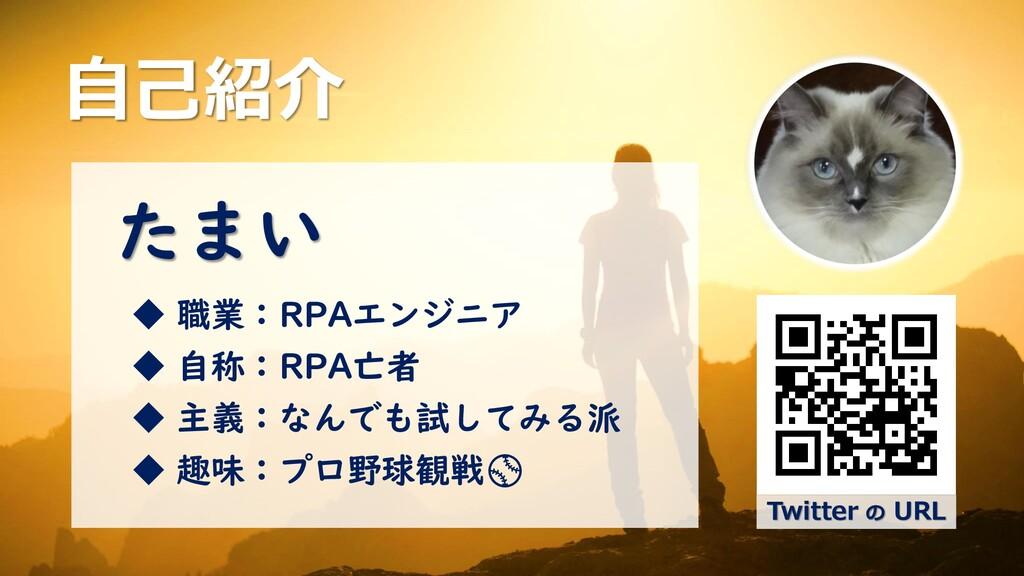 自己紹介 Twitter の URL たまい ◆ 職業:RPAエンジニア ◆ 自称:RPA亡者...