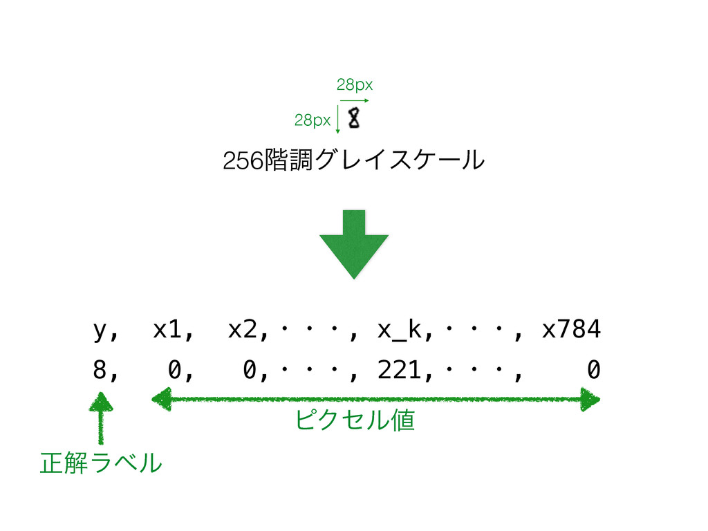 28px 28px y, x1, x2,ɾɾɾ, x_k,ɾɾɾ, x784 8, 0, 0,...