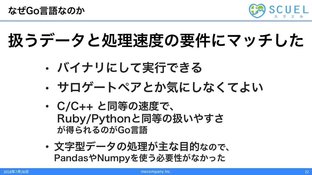 ͳͥ(Pݴޠͳͷ͔ mecompany Inc. 22 ѻ͏σʔλͱॲཧͷཁ݅ʹϚονͨ͠...