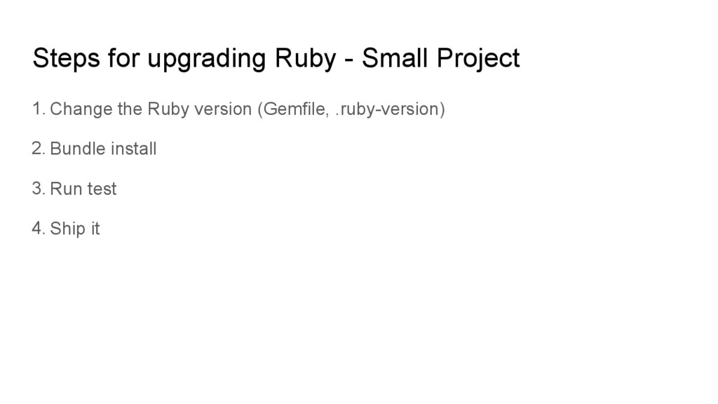 Steps for upgrading Ruby - Small Project 1. Cha...