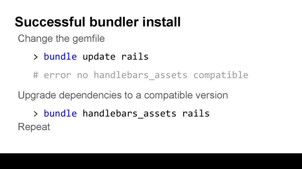 Successful bundler install Change the gemfile >...