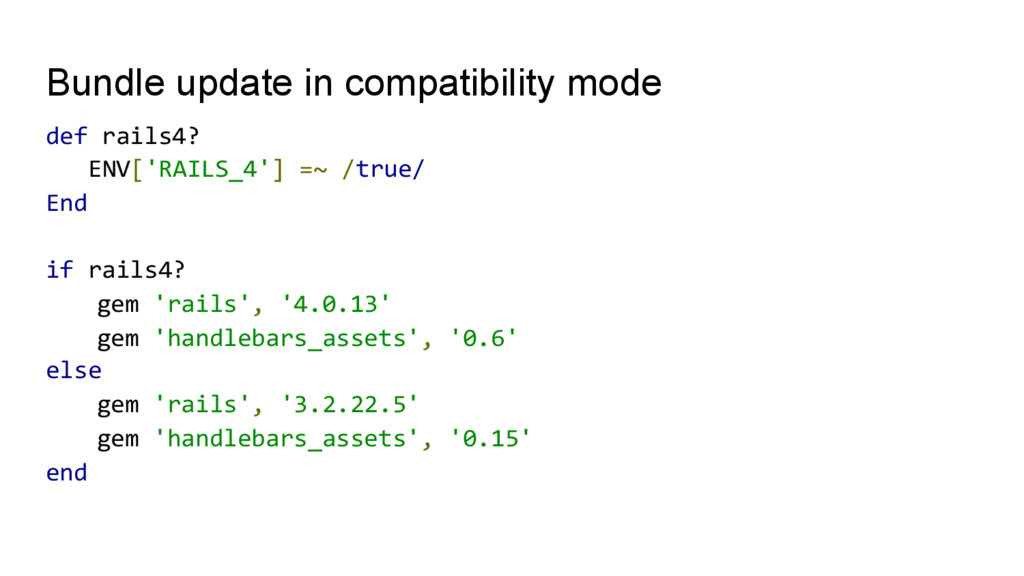 Bundle update in compatibility mode def	