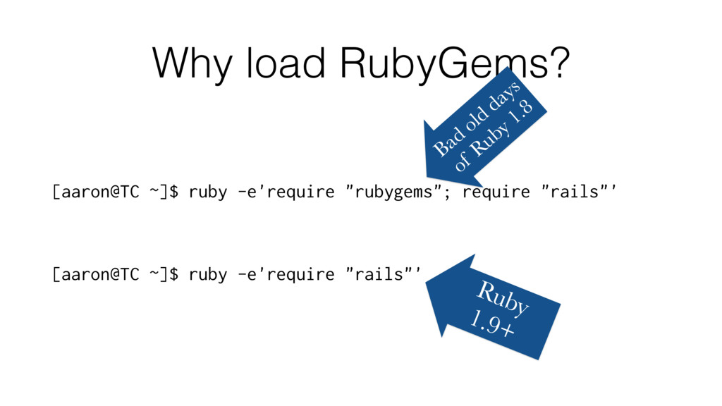 Why load RubyGems? [aaron@TC ~]$ ruby -e'requir...