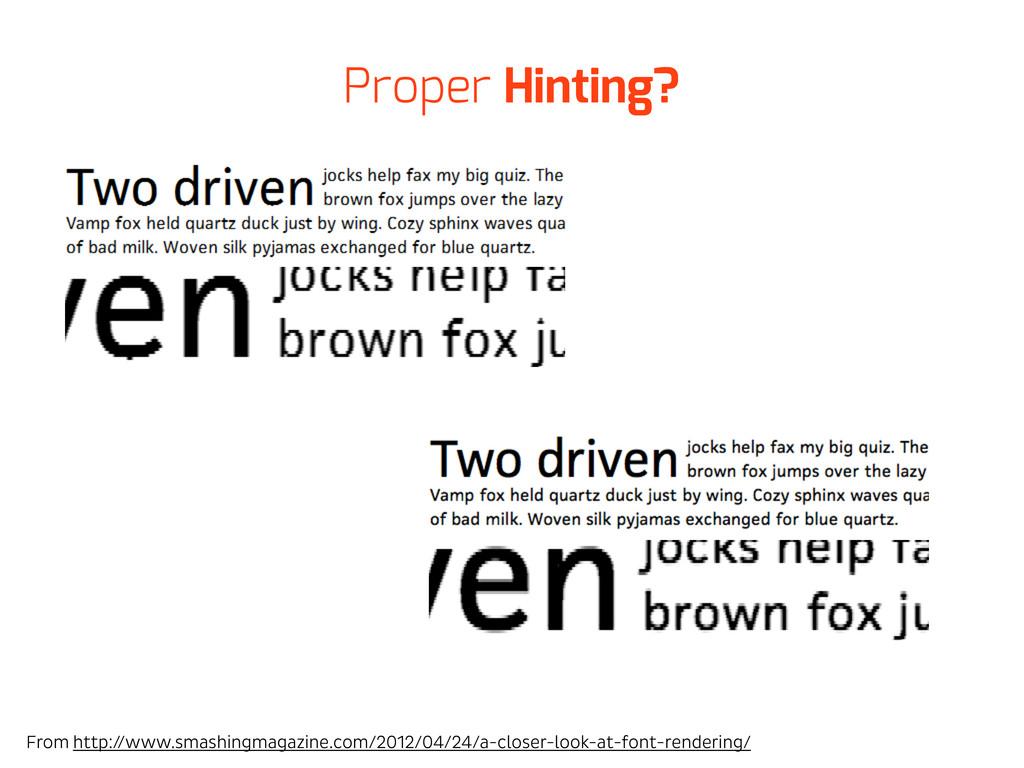 Proper Hinting? From http://www.smashingmagazin...