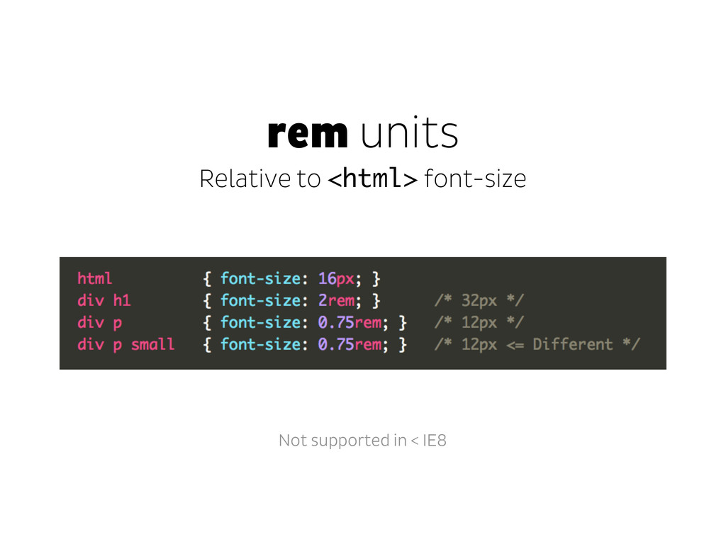 rem units Relative to <html> font-size Not supp...