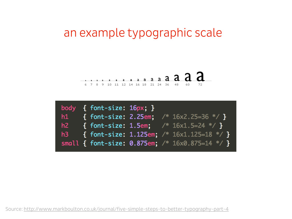 an example typographic scale Source: http://www...