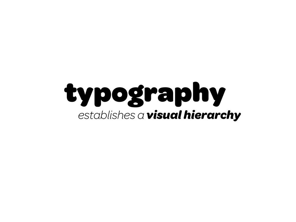 typography establishes a visual hierarchy