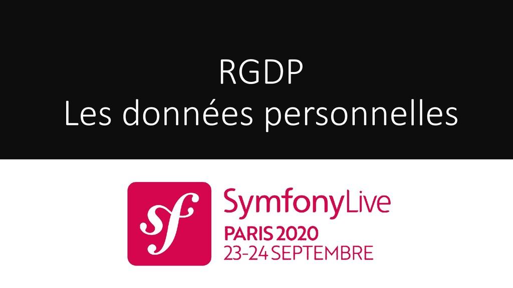 RGDP Les données personnelles
