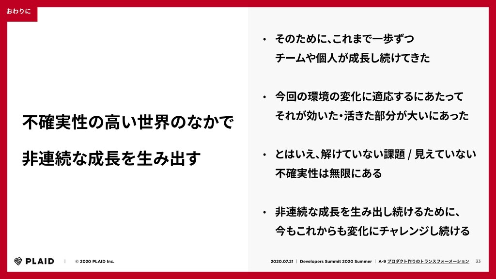 おわりに 33 ɹɹʛɹɹ© 2020 PLAID Inc. 2020.07.21 ʛ Dev...