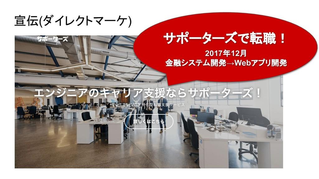 宣伝(ダイレクトマーケ) サポーターズで転職! 2017年12月 金融システム開発→Webアプ...