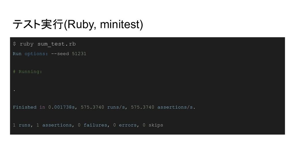 テスト実行(Ruby, minitest) $ ruby sum_test.rb Run op...