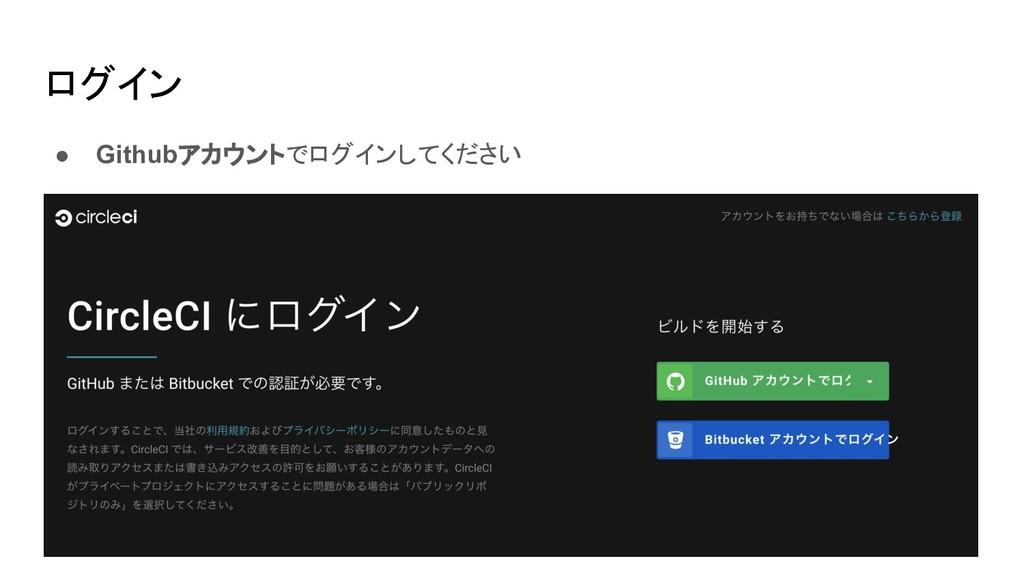 ログイン ● Githubアカウントでログインしてください