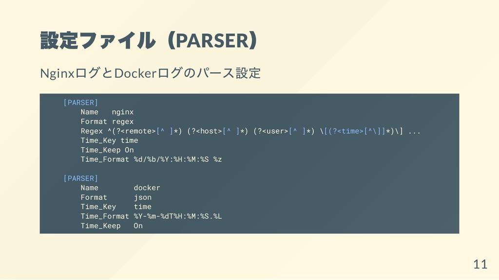 設定ファイル(PARSER ) Nginx ログとDocker ログのパース設定 [PARSE...