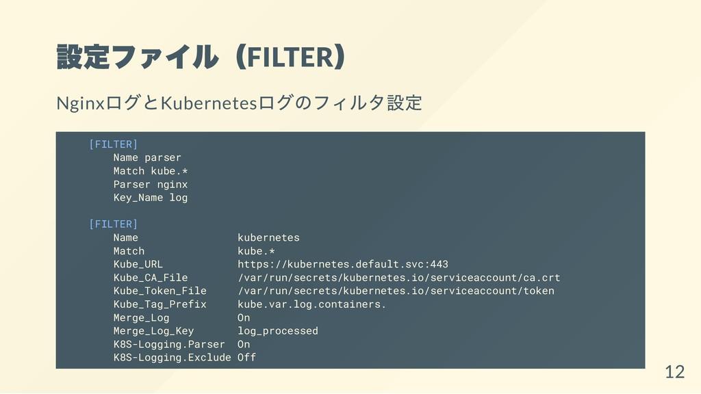 設定ファイル(FILTER ) Nginx ログとKubernetes ログのフィルタ設定 [...