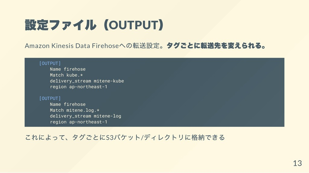 設定ファイル(OUTPUT ) Amazon Kinesis Data Firehose への...
