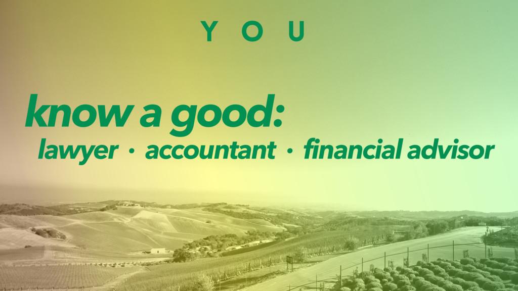 Y O U know a good: lawyer · accountant · financ...