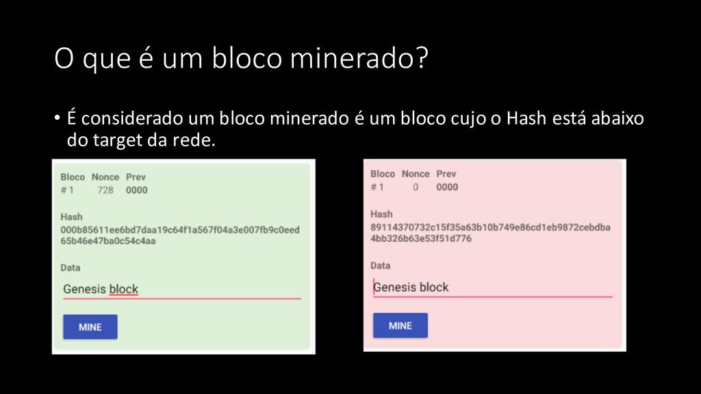 O que é um bloco minerado? • É considerado um b...