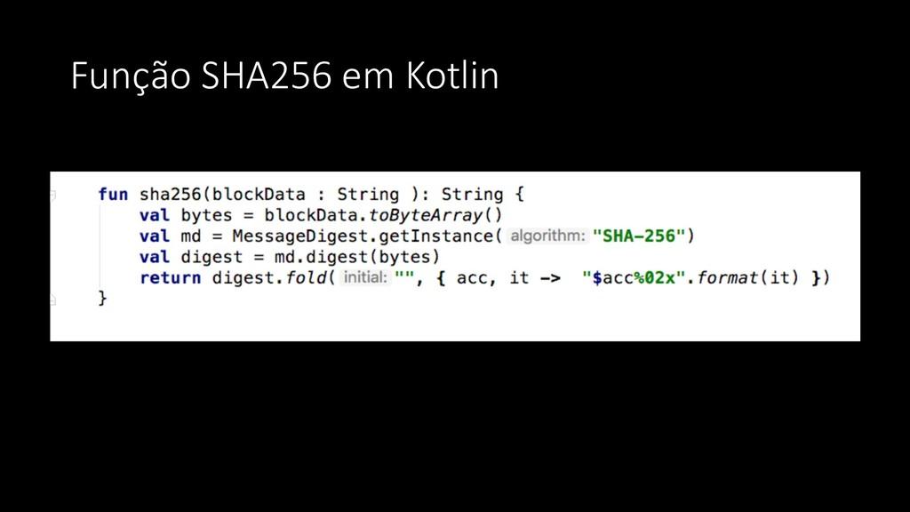 Função SHA256 em Kotlin