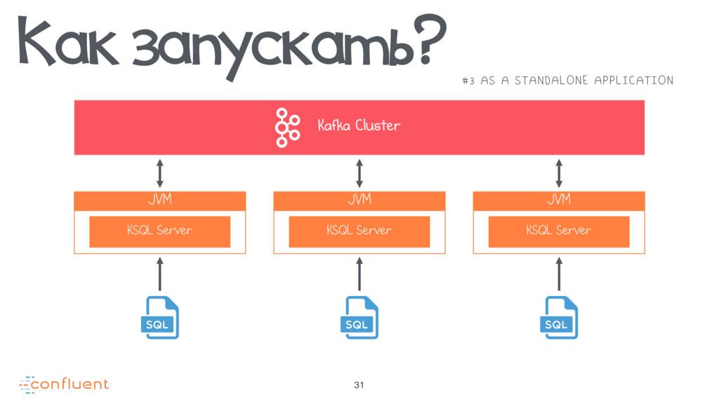 31 Kafka Cluster JVM KSQL Server JVM KSQL Serve...