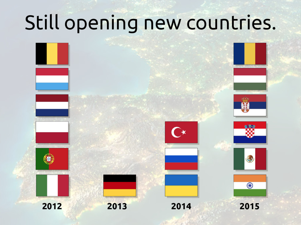 2012 2013 2014 2015 Still opening new countries.