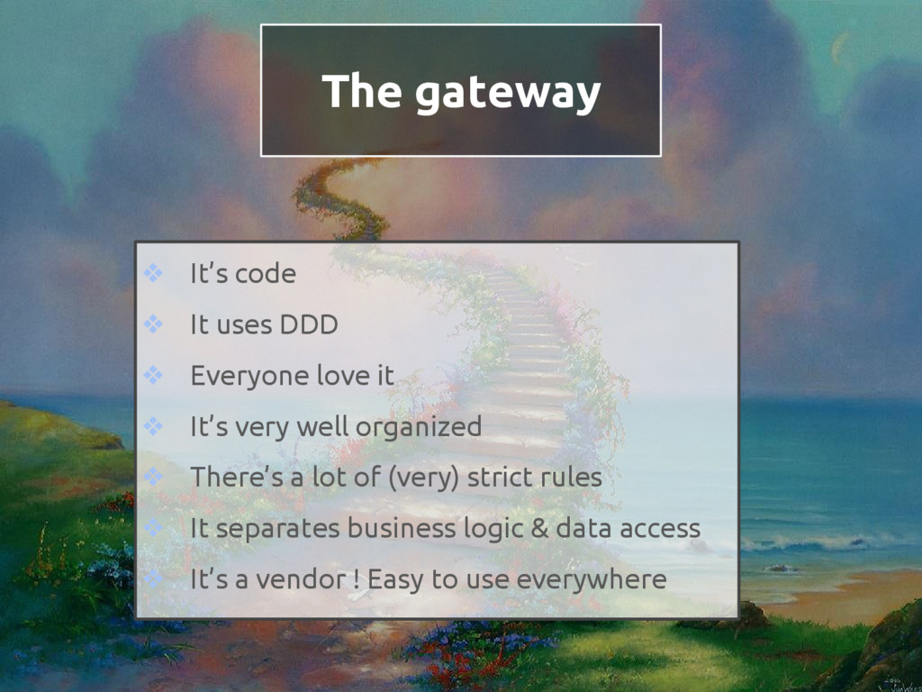 The gateway ❖ It's code ❖ It uses DDD ❖ Everyon...