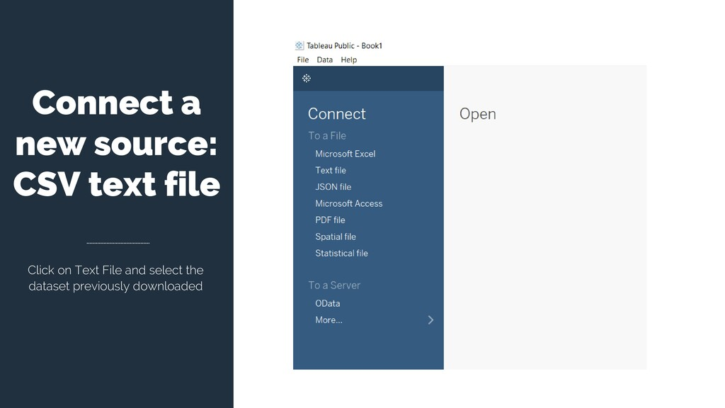 Connect a new source: CSV text file Click on Te...