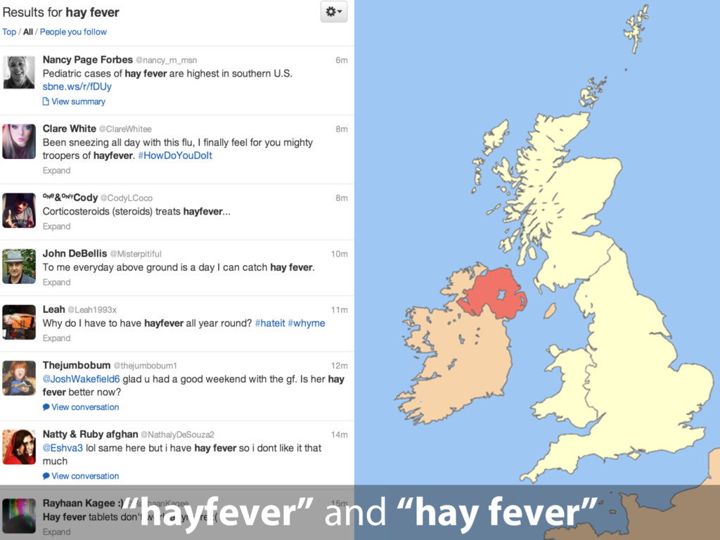 """hayfever"" and ""hay fever"""