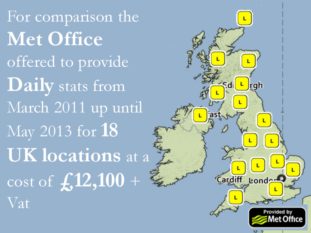 For comparison the Met Office offered to provid...
