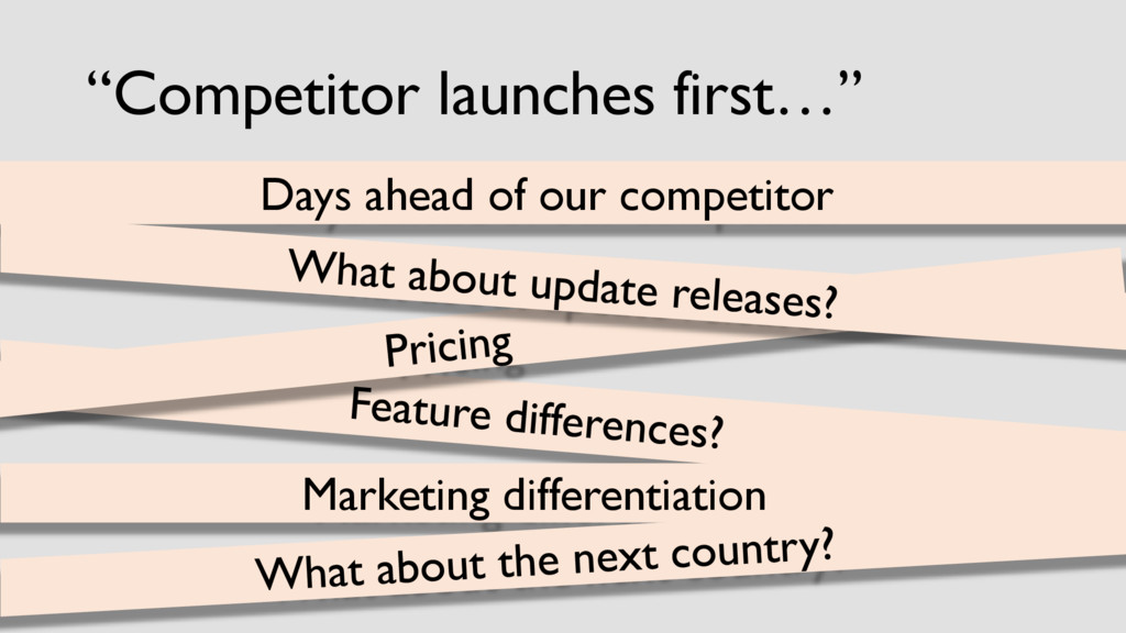 """Competitor launches first…"" Days ahead of our ..."