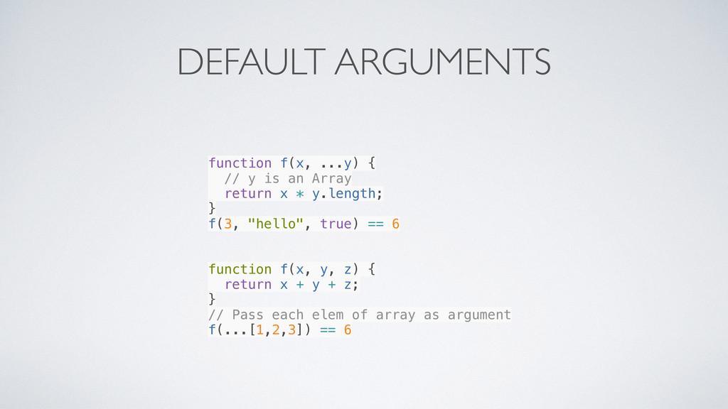 DEFAULT ARGUMENTS function f(x, ...y) { // y is...