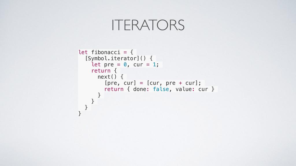 ITERATORS let fibonacci = { [Symbol.iterator]()...