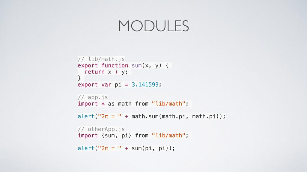 MODULES // lib/math.js export function sum(x, y...