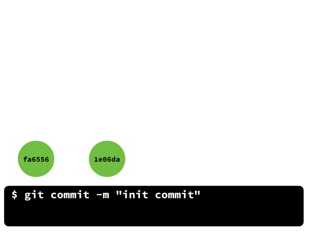 "$ git commit -m ""init commit"" fa6556 1e06da"