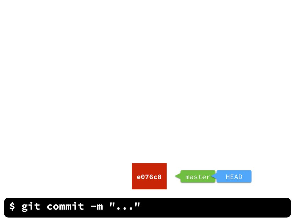 "$ git commit -m ""..."" e076c8 master HEAD"