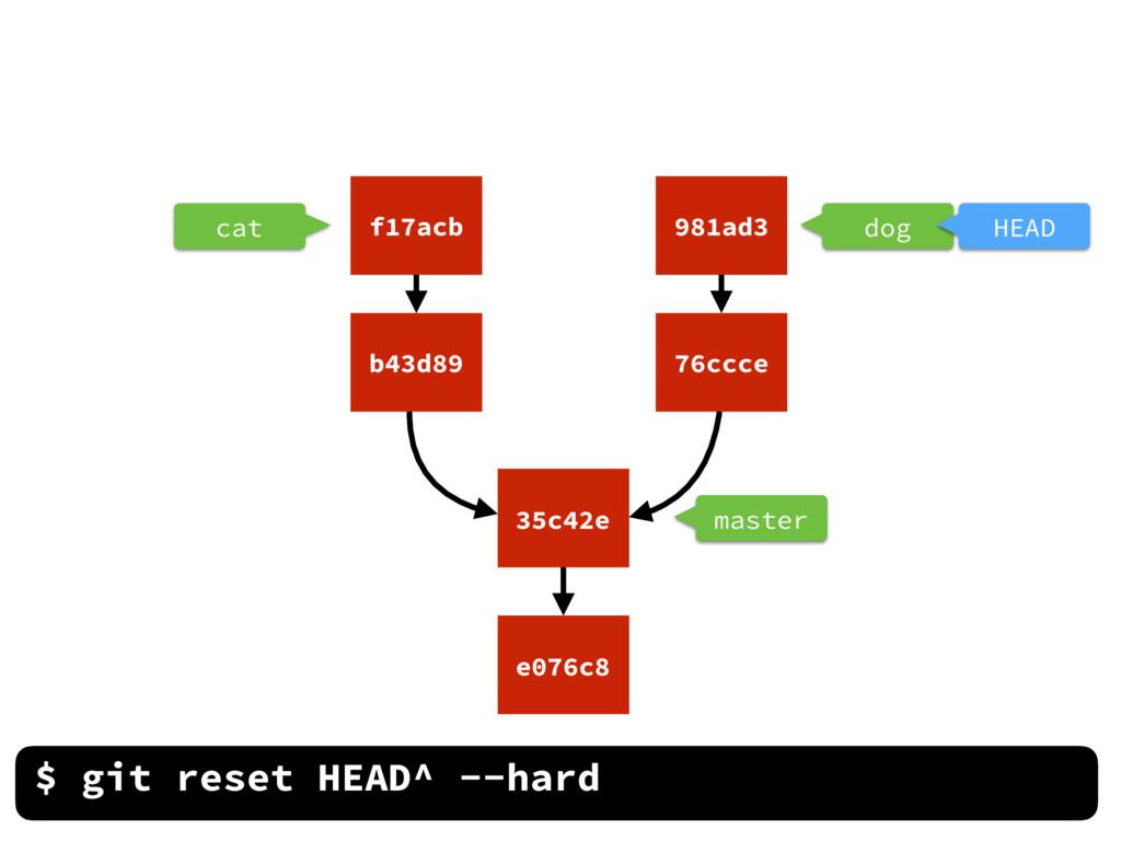 $ git reset HEAD^ --hard cat master dog HEAD e0...