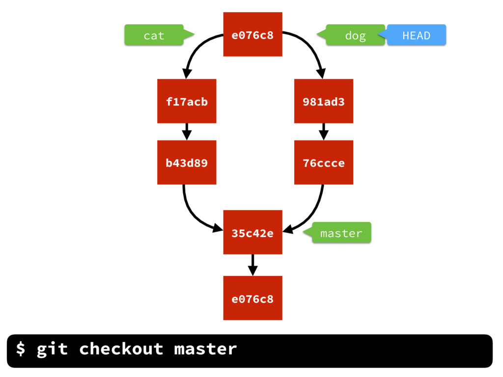 dog cat master $ git checkout master e076c8 35c...
