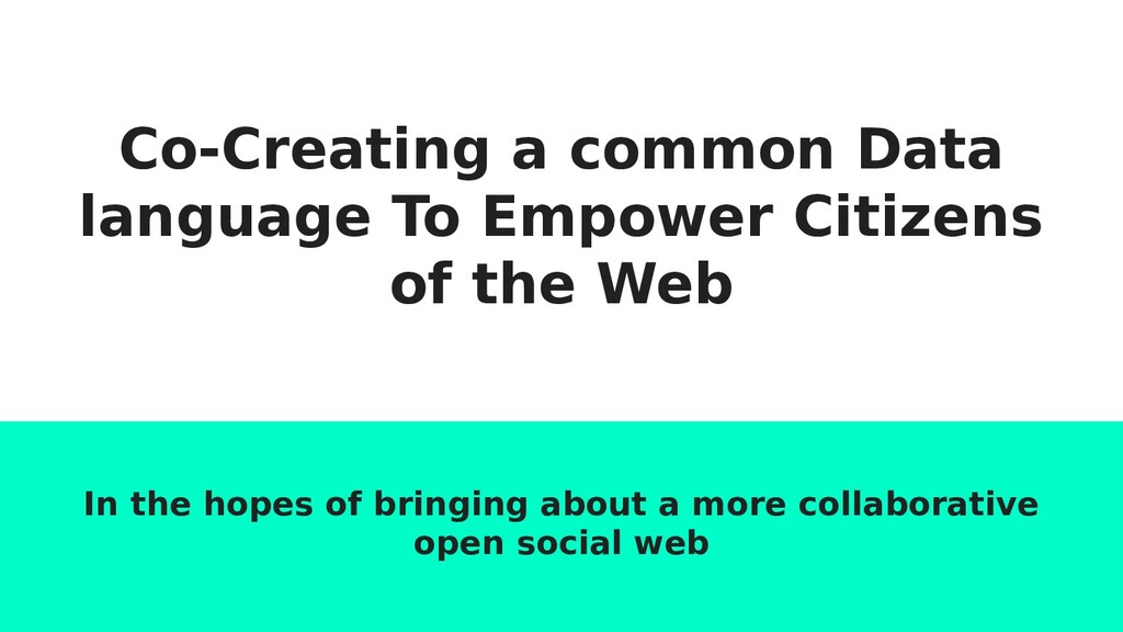 Co-Creating a common Data language To Empower C...