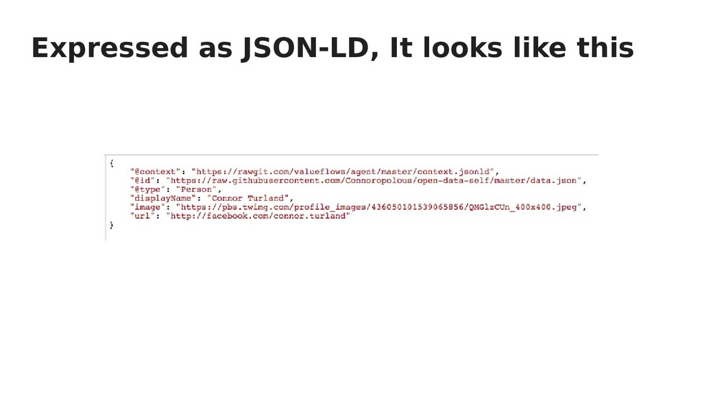 Expressed as JSON-LD, It looks like this