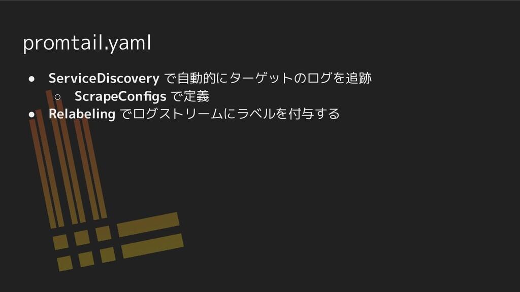 promtail.yaml ● ServiceDiscovery で自動的にターゲットのログを...
