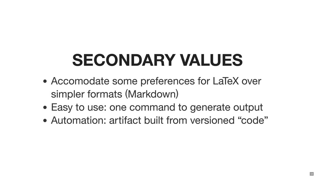 SECONDARY VALUES Accomodate some preferences fo...