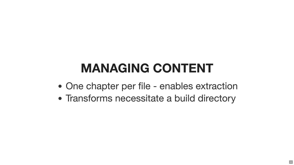 MANAGING CONTENT One chapter per le - enables ...