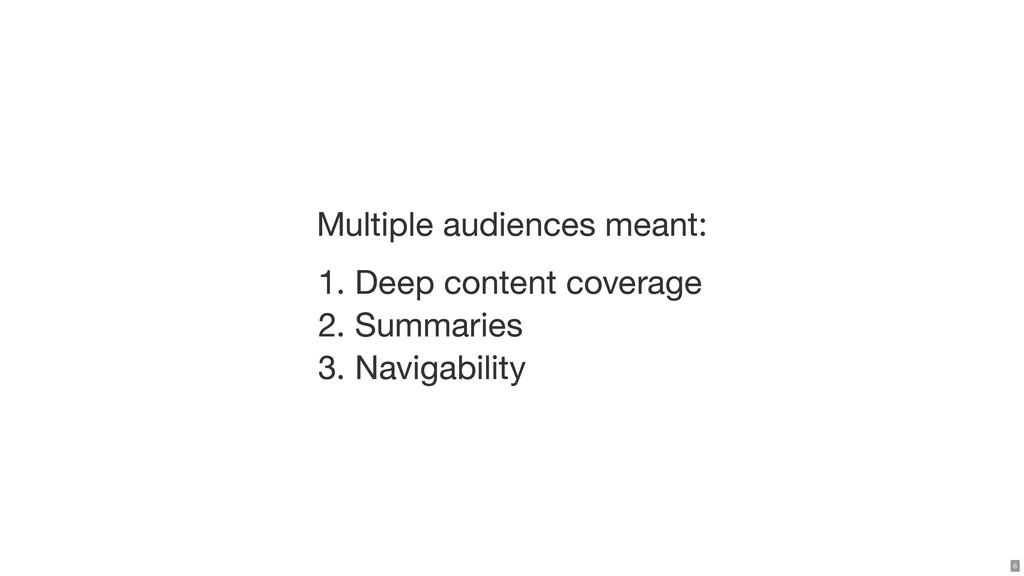 Multiple audiences meant: 1. Deep content cover...