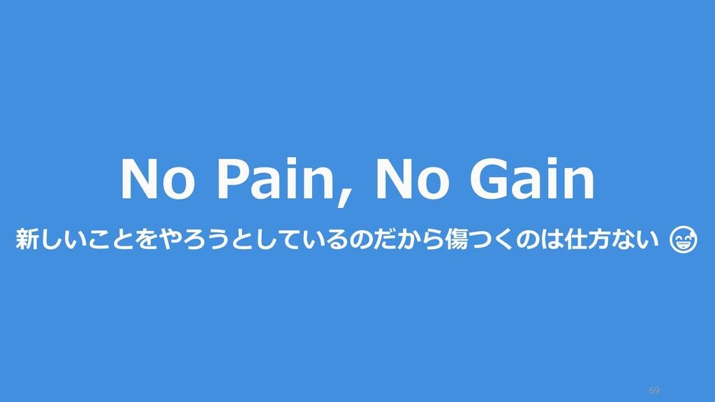 69 No Pain, No Gain 新しいことをやろうとしているのだから傷つくのは仕方ない...