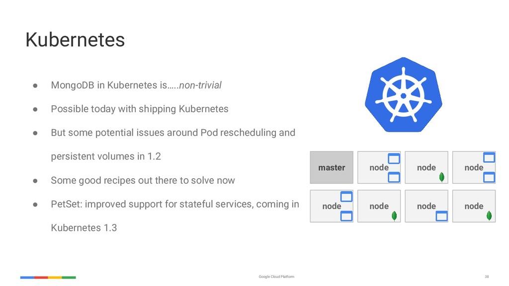 Google Cloud Platform 38 node Kubernetes ● Mong...