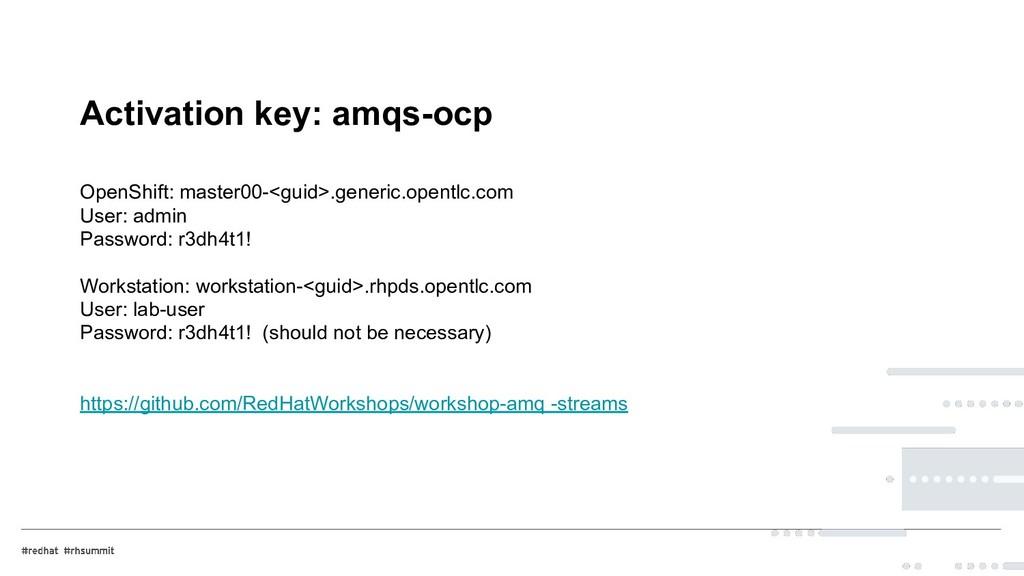 Activation key: amqs-ocp OpenShift: master00-<g...