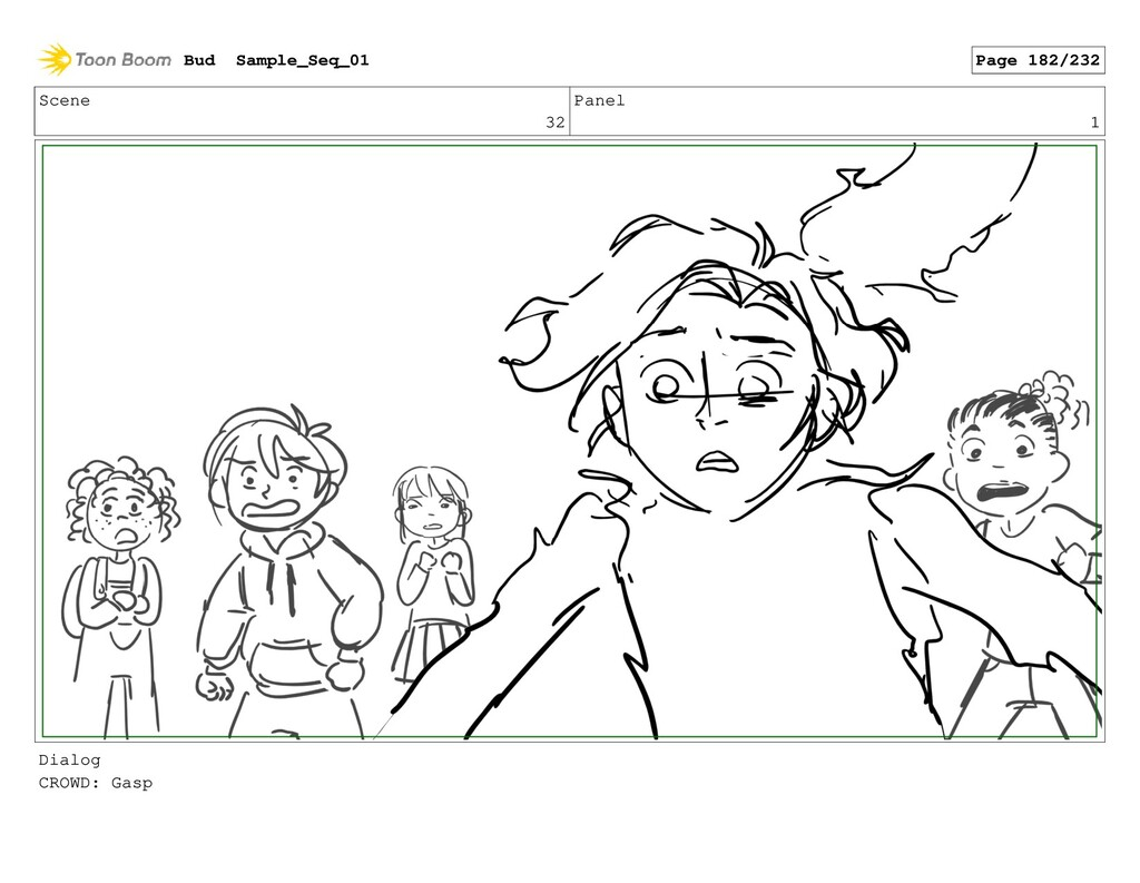 Scene 32 Panel 1 Dialog CROWD: Gasp Bud Sample_...