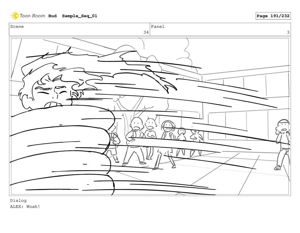 Scene 34 Panel 3 Dialog ALEX: Woah! Bud Sample_...