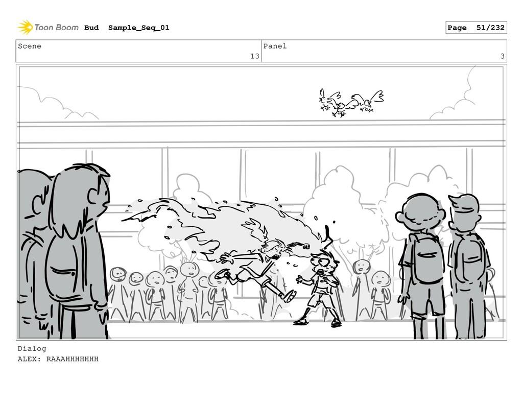 Scene 13 Panel 3 Dialog ALEX: RAAAHHHHHHH Bud S...